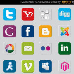 Rubber Social Media Icons Vector Free
