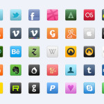 Sweet Colourful Social Network Icons Media Free Vector
