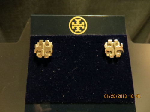 Tory Burch Medium Logo Silver Stud Earrings