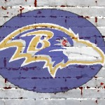 Baltimore Ravens Logo Painted Brick Wall Wide