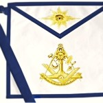 Paul Revere Jewel Square Past Master Masonic Apron Blue Trim
