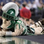 Sparty Mascot The Michigan State Spartans Lays Courtside During