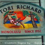 Carved Away Wood Sign Retailer Store Tori Richard Honolulu Hawaii