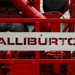 Halliburton Signage Displayed The Dual Fuel Pumping Unit