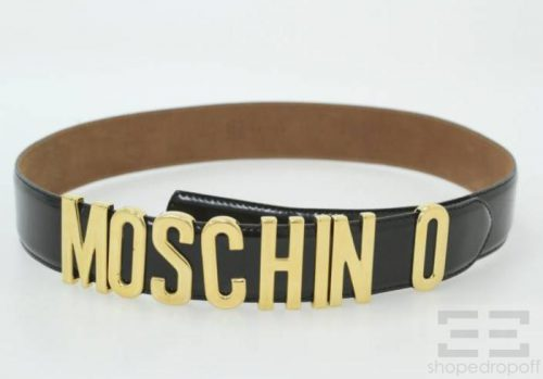 Moschino Black Leather Gold Letter Logo Buckle Belt Size