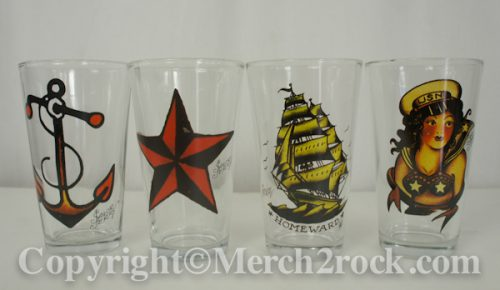 Sailor Jerry Pint Beer Glass Set Tattoo Girl Anchor Logo