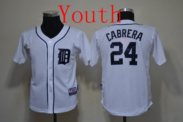 Youth Detroit Tigers Miguel Cabrera White Font