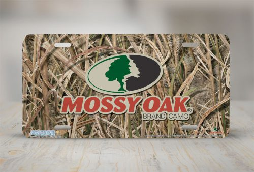 Mossy Oak License Plate Shadow Grass Blades Logo