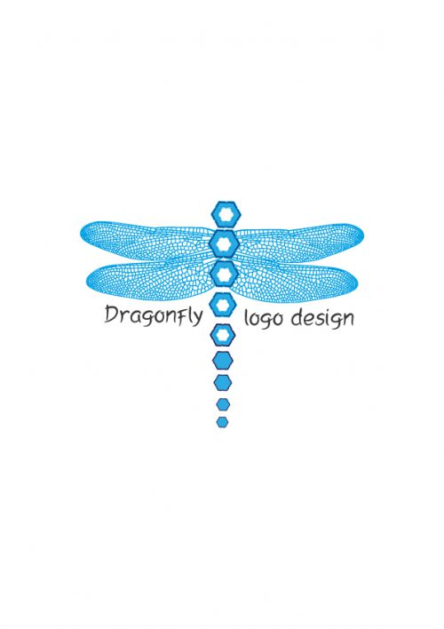 Blue Dragonfly Logo Design Aya