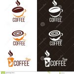 Coffee Cup Bean Logo Vector Set Design Illustration Saucer