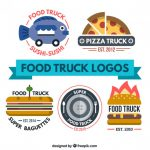 Flat Food Truck Logo Collection Vector