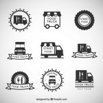 Hand Drawn Food Truck Logo Collection Vector