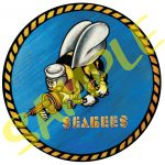 Military Seabee Logo Color Clear Laminated Sticker