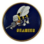 Navy Seabee Logo Cut Out Plaque Hand Carved Mahogany Wood