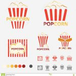 Popcorn Logo Set Vector Illustration Film